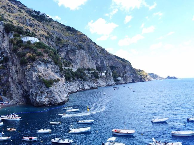 The Color Of Sport Nautical Vessel Transportation Water Boat Italy Positano Sea Mountain Tranquil Scene Nature Scenics Tranquility Cloud - Sky Beauty In Nature Blue Outdoors Day Cliff Waterfront Rocky Praia Paraíso Marcosbrasilphoto