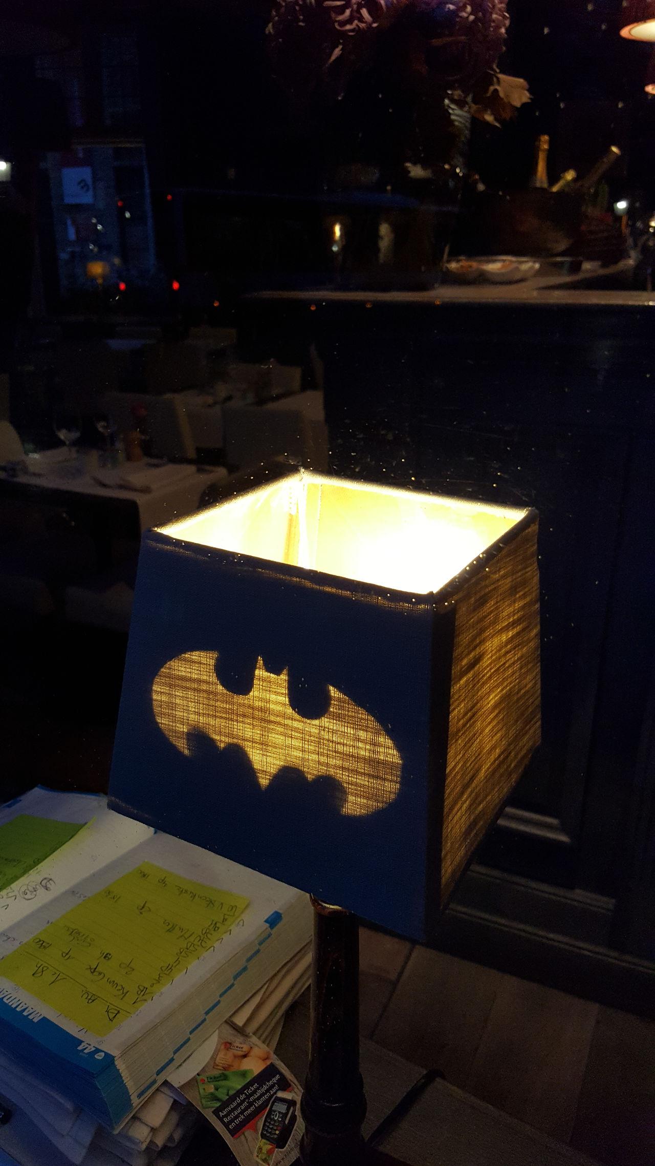 Batman Batsignal High Angle View Indoors  Night No People
