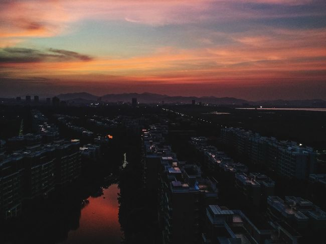 Sunset Water City Cityscape Architecture Built Structure Dusk Illuminated River Sky Building Exterior China Zhuhai High Angle View Dark Waterfront Scenics Aerial View Sea Reflection Cloud