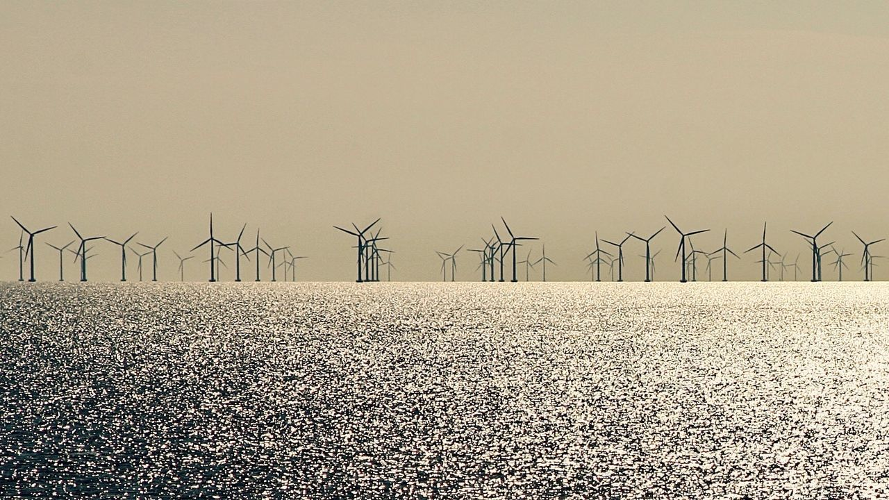 Offshore wind power farm in Denmark; over 100 wind mills at sea Fuel And Power Generation Renewable Energy Alternative Energy Wind Power Wind Turbine Sunset Nature Outdoors Electricity  Windmill Baltic Sea Sky Offshore Farm Horizontal Environmental Conservation Horizon Over Water Solitude Denmark Windpower Windpark Reflection Golden Hour Amazing View Sea