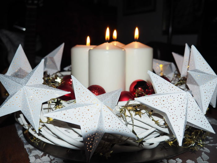 4. Advent Advent Wreath Candle Celebration Christmas Christmas Decoration Close-up Day Flame Four Candles Illuminated Indoors  No People Ribbon - Sewing Item
