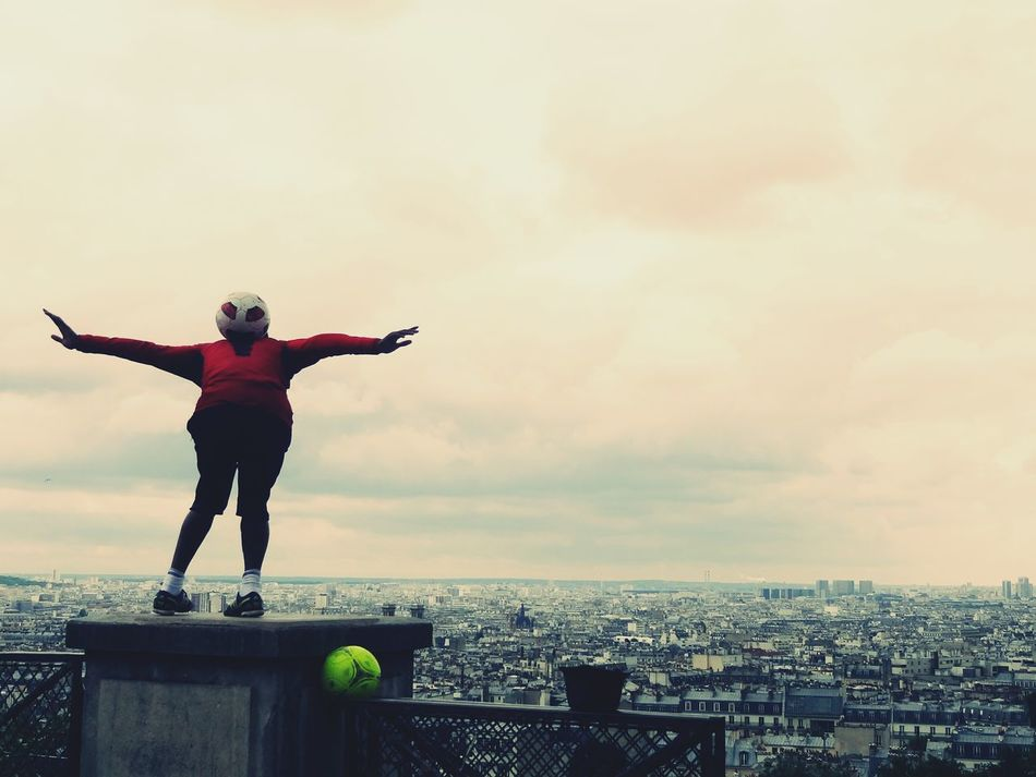 Paris France Football Artist Acrobat Fit Agility Grace Graceful Arms Outstretched Cloud - Sky One Person Human Body Part Standing Skyline Harmony Outdoors Sacre Coeur Athlete Swag Art Is Everywhere