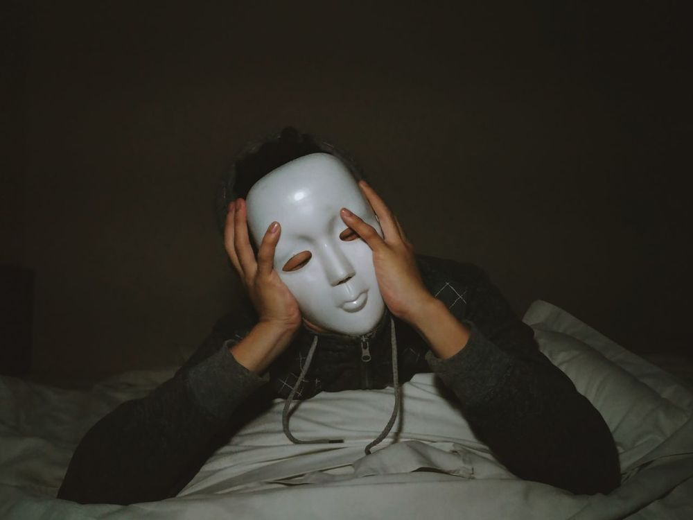 One Person Front View Headwear Close-up Portrait Indoors  Human Body Part Headshot Masked Portrait Bedroom Faceless Melancholic Kaonashi Alone Mask