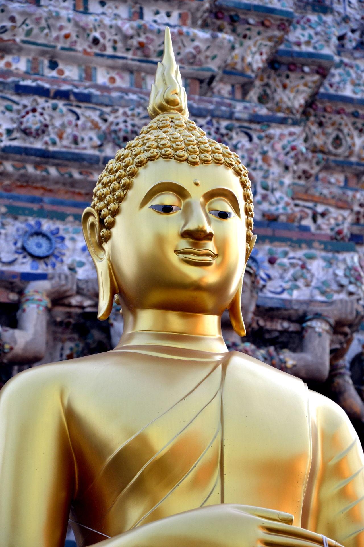 Buddha Buddhism Buddhist Temple Day Gold Colored Golden Color Grand Palace Bangkok Thailand Human Representation Idol Male Likeness No People Religion Sculpture Spirituality Statue