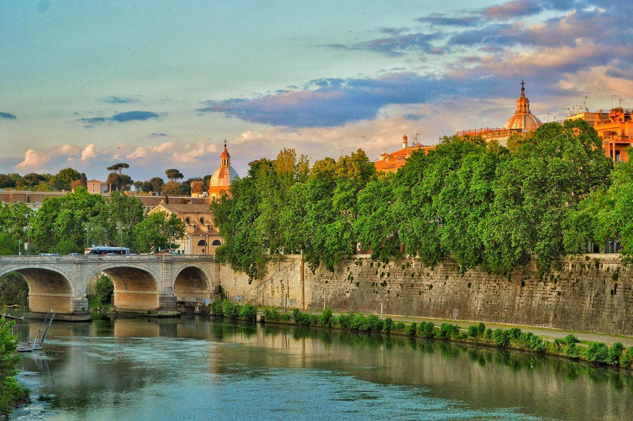 """""""Ponte Cavour and Beyond"""" - Fiume Tevere, Roma Rome Roma Photobydperry Water Cloud - Sky Outdoors Sky No People River Day Tree Nature Tevere Tevere River Pontecavour Domes Evening Evening Sky Evening Light"""
