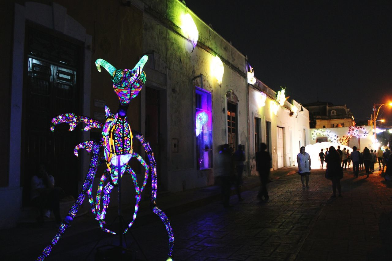 Illuminated Merida♡ Astronomy People Tourism Night Yucatan Mexico Enjoying Life Travel Destinations Architecture Taking Photos Built Structure Blue Mexico Old Church City Traveling Streetphotography