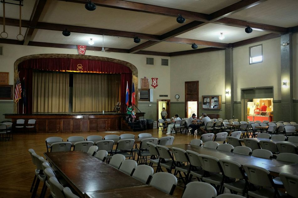 My kids were warming up the stage before the crowd arrives. Check This Out Czech Festival SOKOL Empty Room Small Town USA A Day In The Life Nebraska