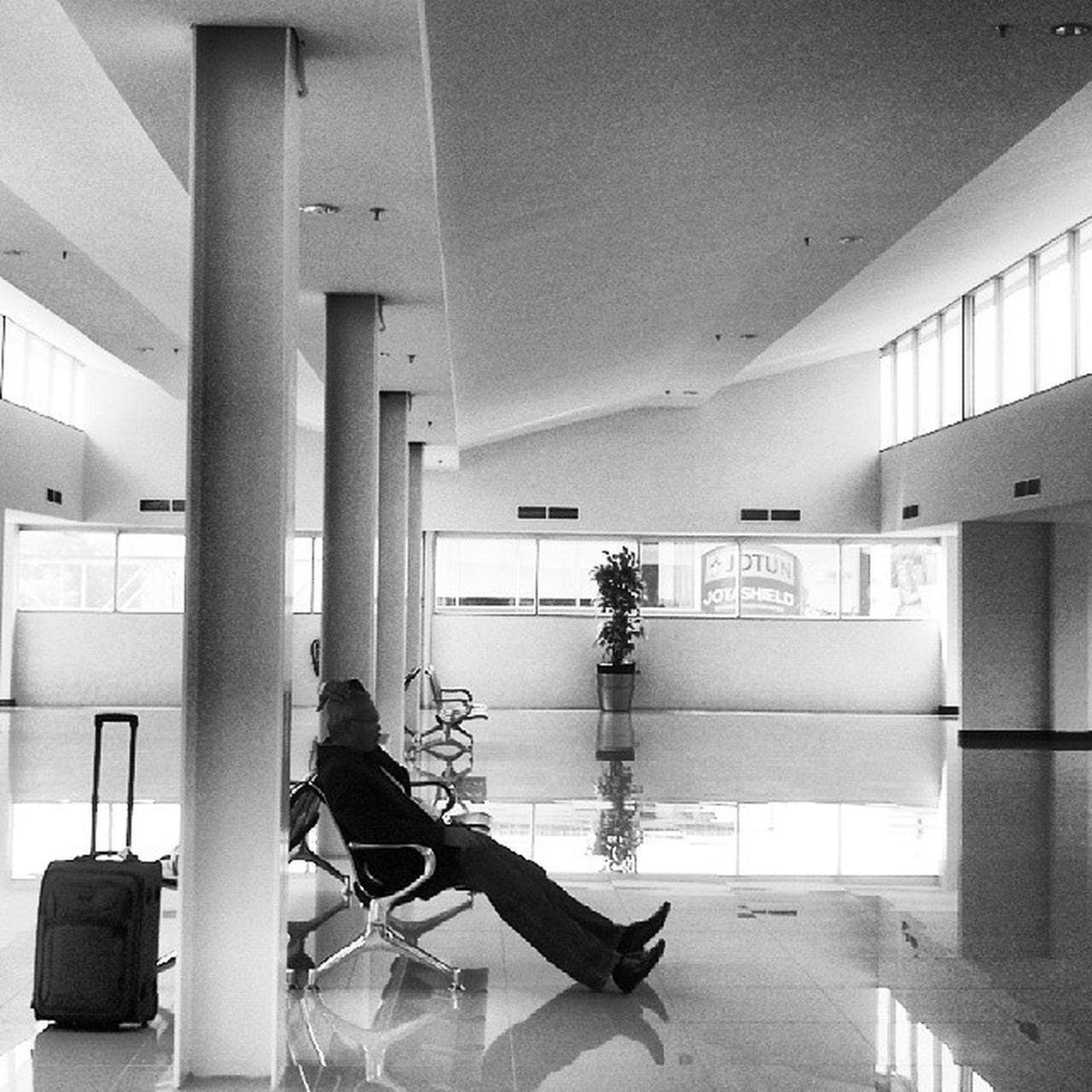 Waiting Terminal Airport Blackandwhite Kualanamu Medan Alone Traveler