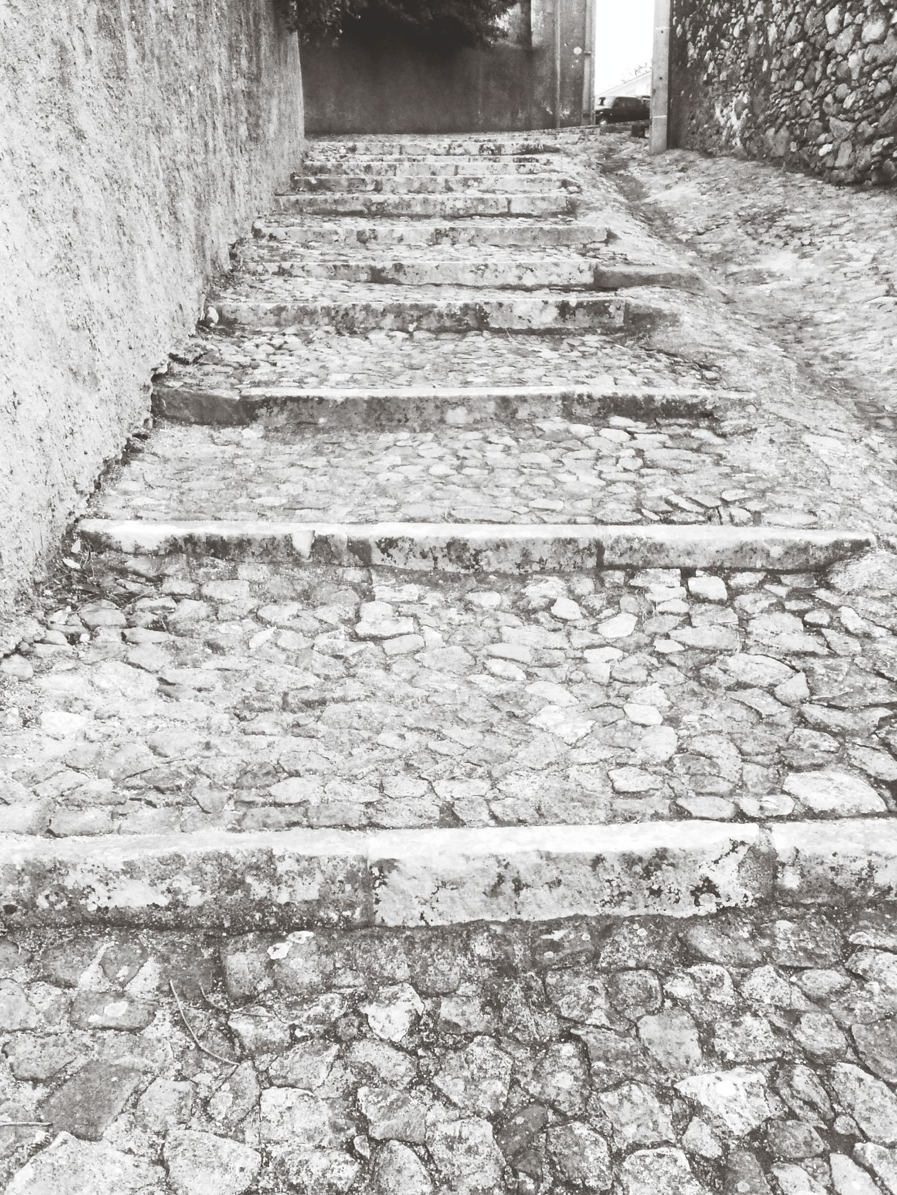 Stairs Walking Around Black And White