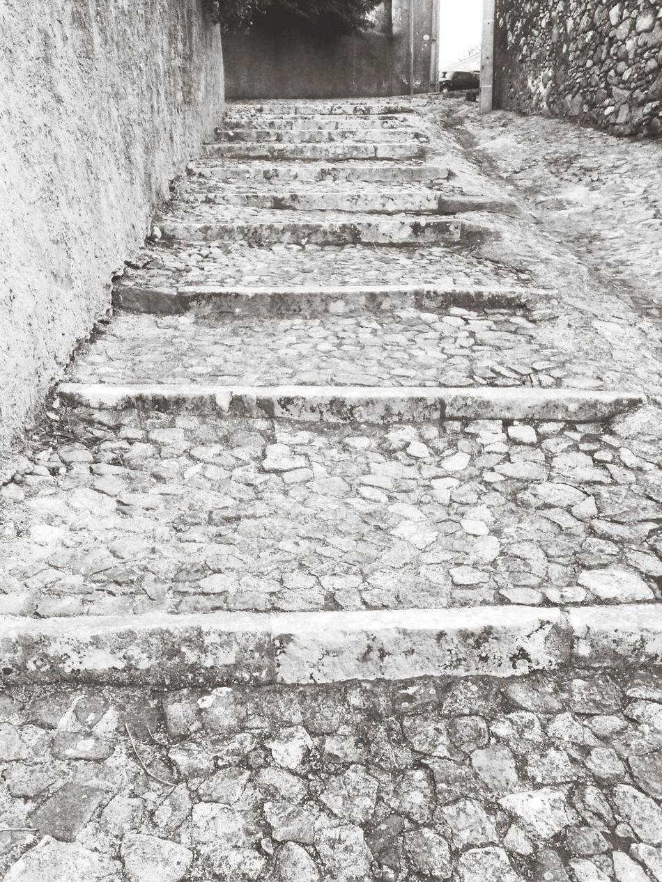 Stairs Walking Around Black And White