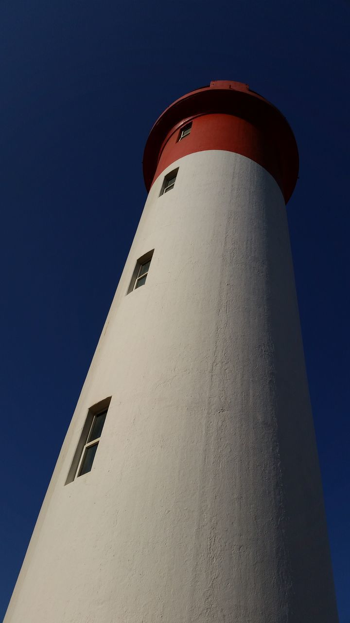 lighthouse, guidance, low angle view, safety, protection, architecture, building exterior, built structure, day, direction, no people, clear sky, outdoors