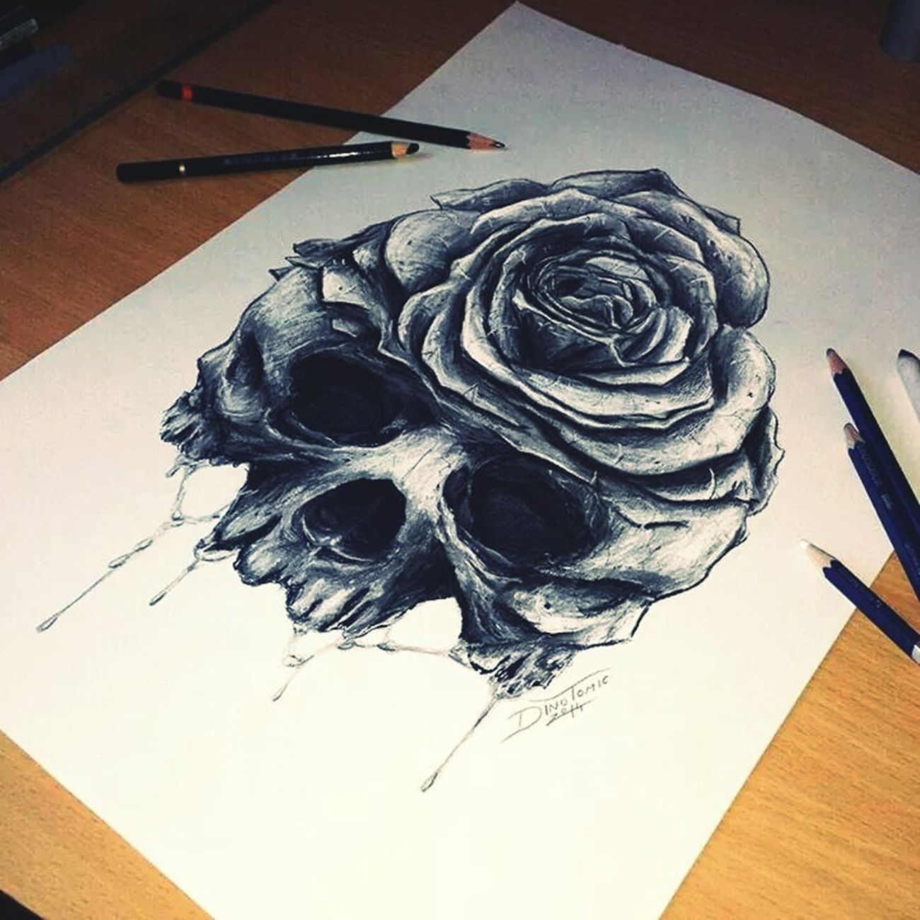 Draw Something Skull Art Pencil Drawing Black And White Art, Drawing, Creativity Schoolart First Eyeem Photo