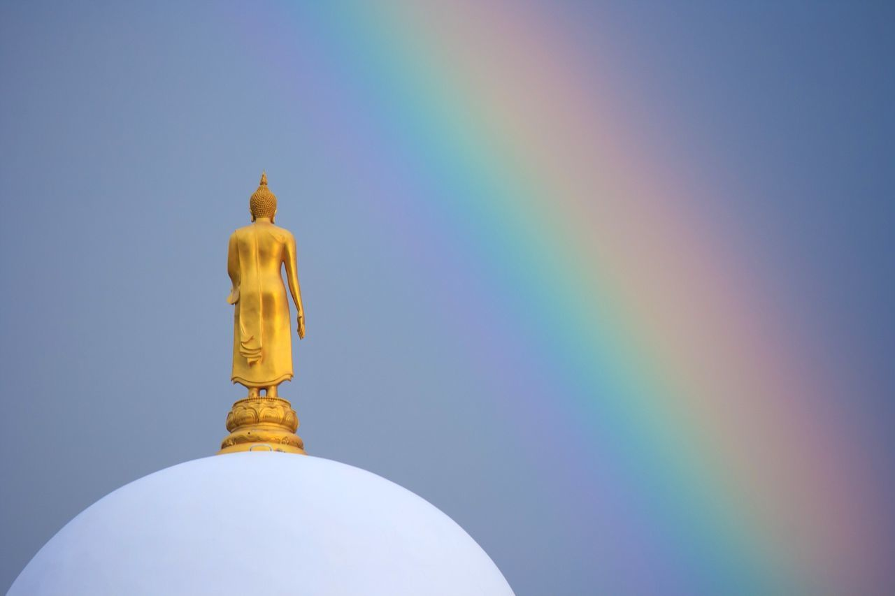 Budhastatue No People Low Angle View Clear Sky Statue Close-up Outdoors Gold Sky Sculpture Day Buddha Buddhism Buddhist Temple Buddha Statue Rainbow