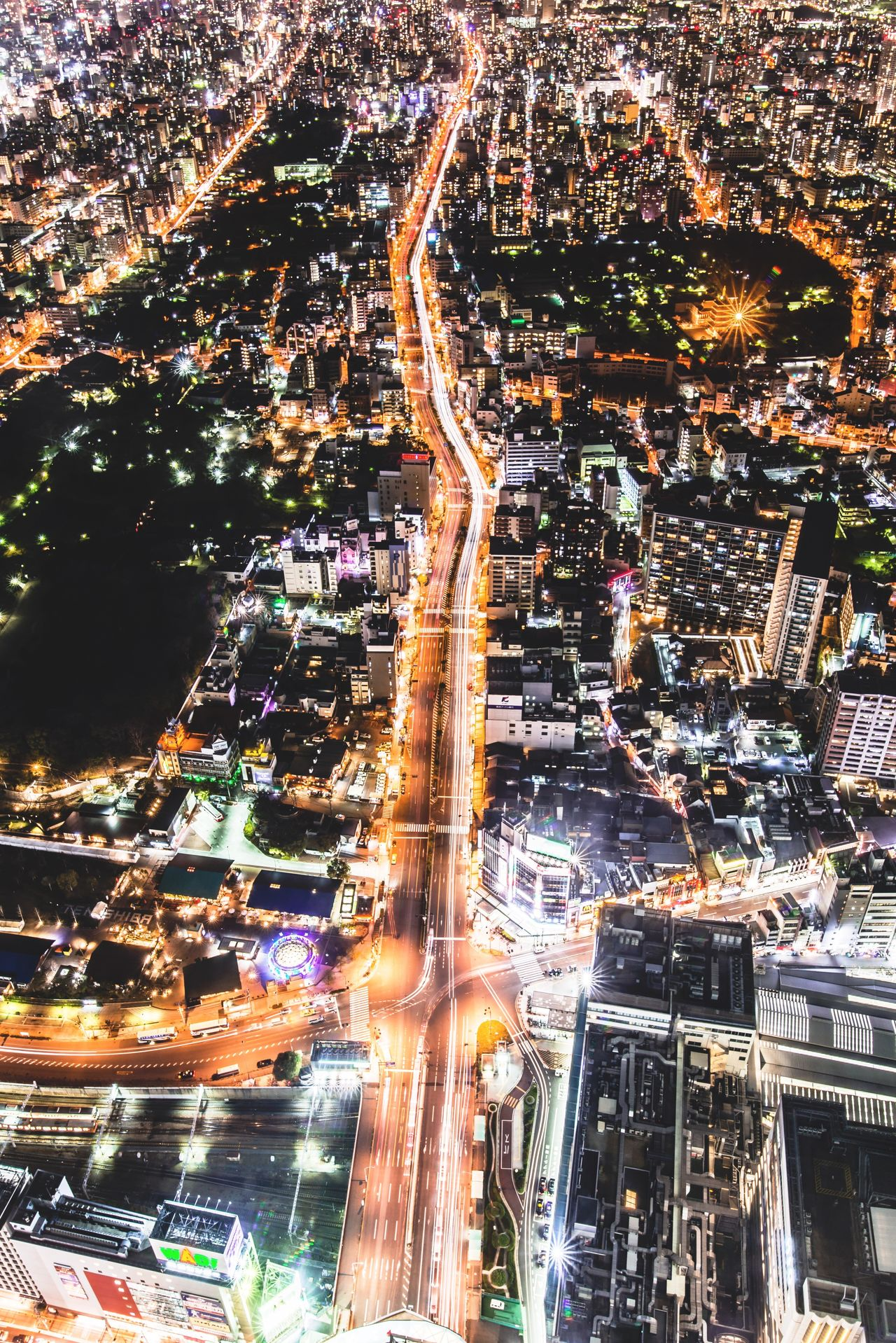 Nightview of Osaka City Night Cityscape Illuminated High Angle View Architecture Aerial View Light Trail Traffic City Street City Life Urban Road Streetphotography Traveling