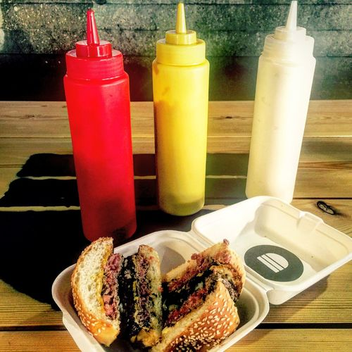 The awesome Bleeker Black - two beef patties, cheese and black pudding! Burgers Bleekerstreet