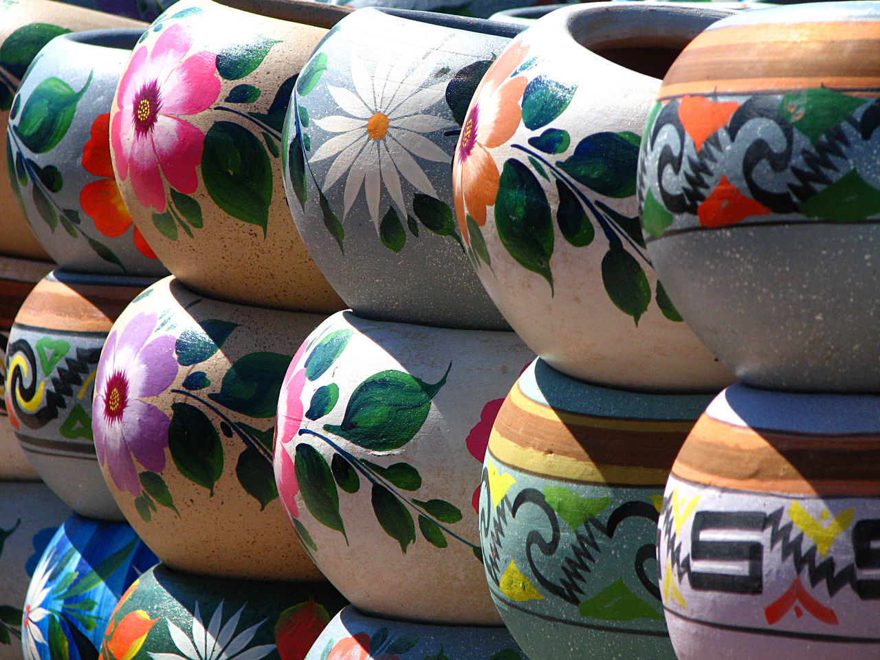 Lovely hand-painted pots Art And Craft Choice Close-up Day For Sale In A Row Large Group Of Objects Multi Colored No People Outdoors Painted Bowls Variation Let's Go. Together. Website Design Multi Coloured Mexican Art
