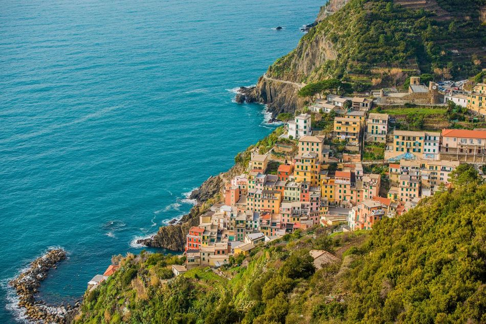 Architecture Beach Beauty In Nature Building Exterior Built Structure Day Foreground High Angle View Horizon Over Water Italian Riviera Italy Nature Nautical Vessel No People Outdoors Rock - Object Sea Water Yacht