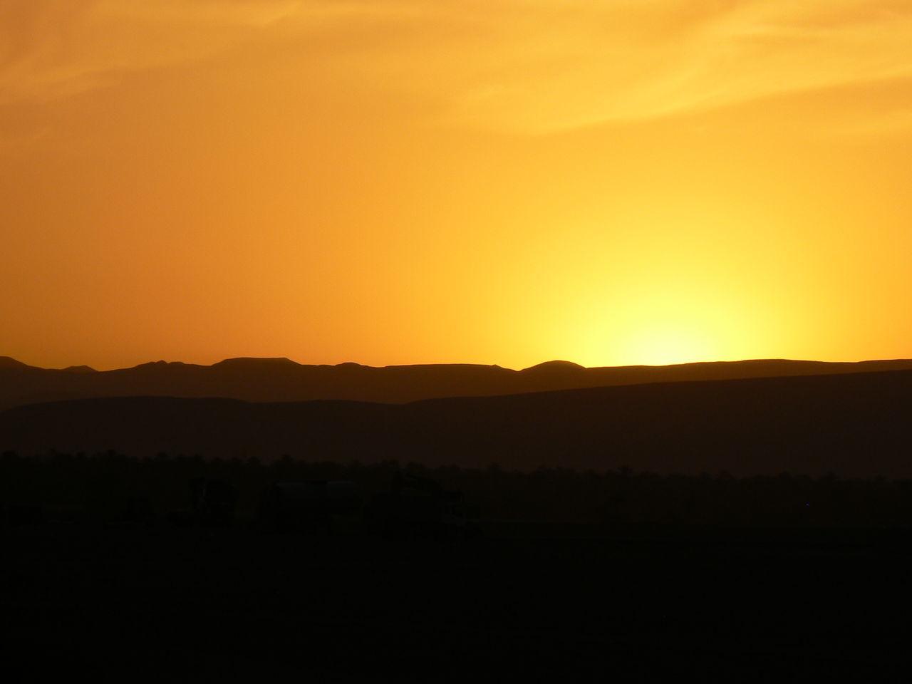 Beauty In Nature Desert Nature No People Orange Color Sun Sunset Vibrant Color