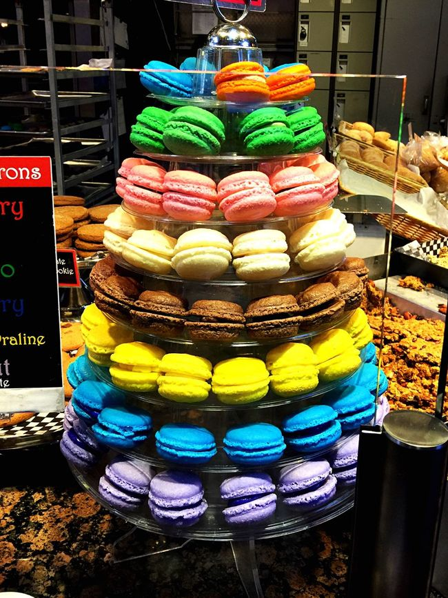 Macaroons - nothing to delight the eyes than sweet treats! Taking a walk at the local produce market! They were delish! Macarons Colourful Sweet Treat Granville Island Local Market