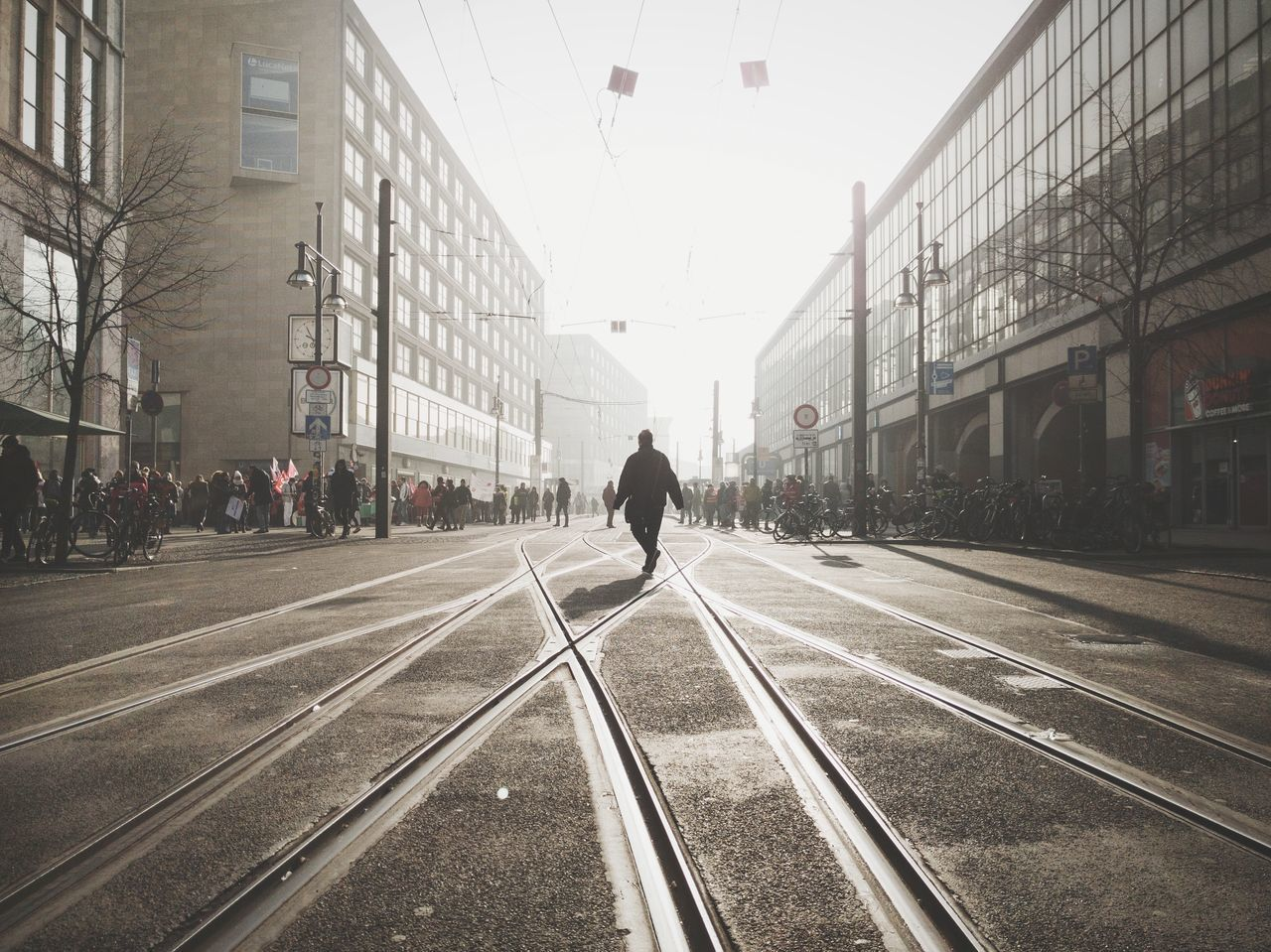 Transportation One Person Only Men City Adults Only Built Structure Full Length People Outdoors Sky Adult Real People Day Architecture One Man Only Light And Shadow Foggy Morning Misty The City Light Berliner Ansichten Fog City Life The Way Forward Street Walking