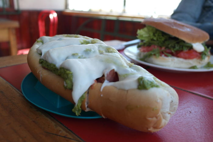Completo chileno Chile Food Close-up Hot Dog Chileno Completo No People Plate Mercado Meat Hot Dog Sky Vehicle Seat