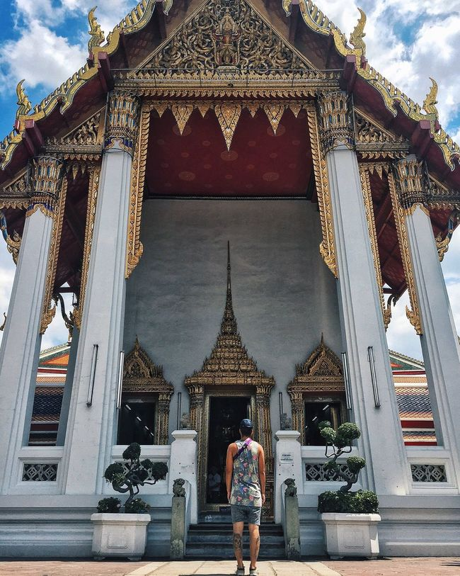 Architecture Religion Place Of Worship Spirituality Rear View Built Structure Building Exterior Temple - Building Standing Person In Front Of Tourism Architectural Column Famous Place Front View Casual Clothing Thailand Bangkok