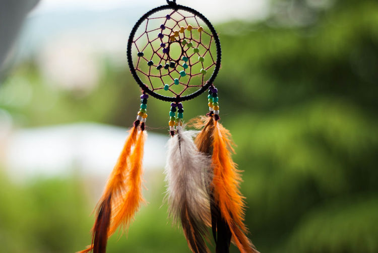 Close-up Dreamcatcher Feather  Focus On Foreground Hanging Spirituality