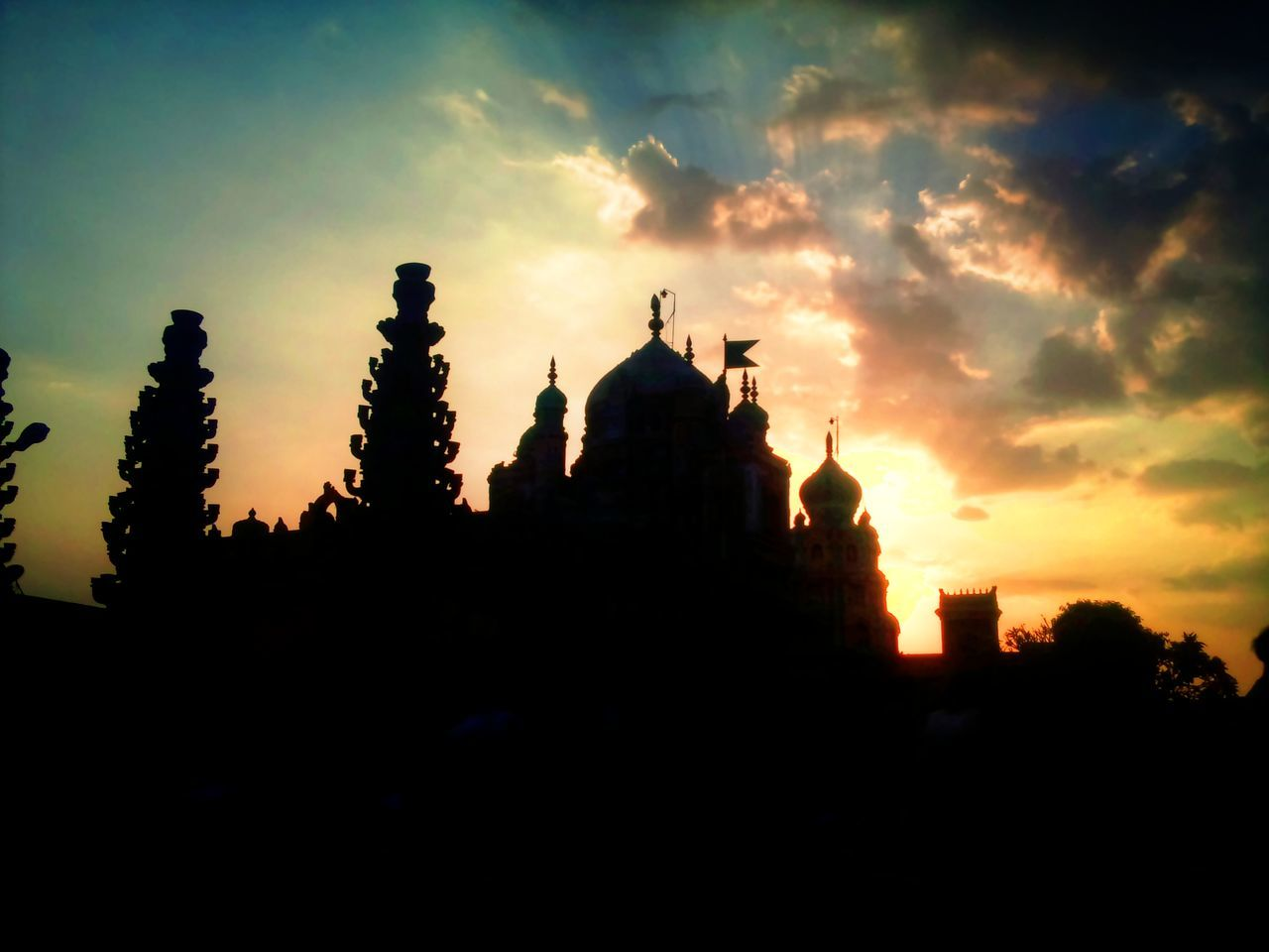Silhouette Khandoba Temple Against Sky During Sunset