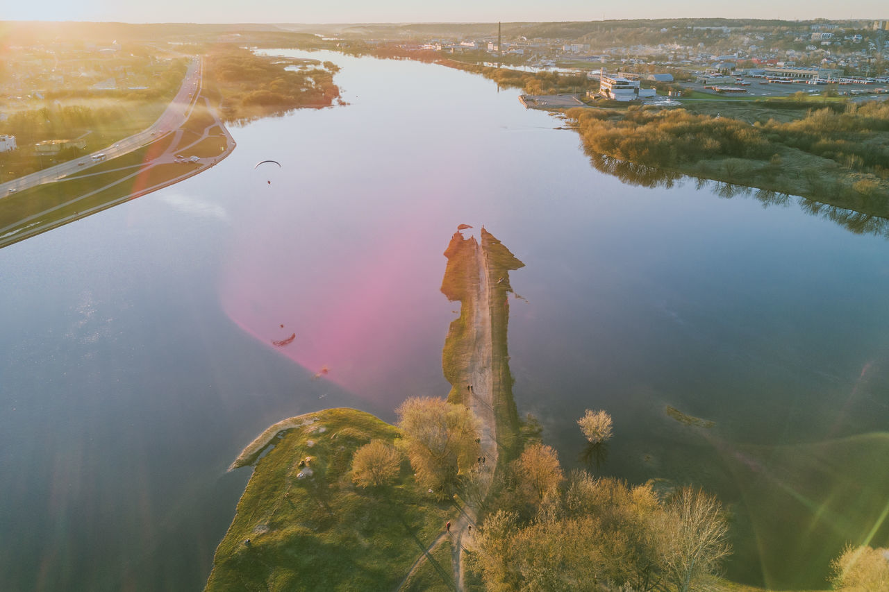 Confluence of two rivers Nemunas and Neris Aerial Shot City Confluence Drone  Drop Europe Lietuva Mavic Mavic Pro Nemunas Neris Old Town Paragliding River Riverside Spring Sunflare Sunset Water