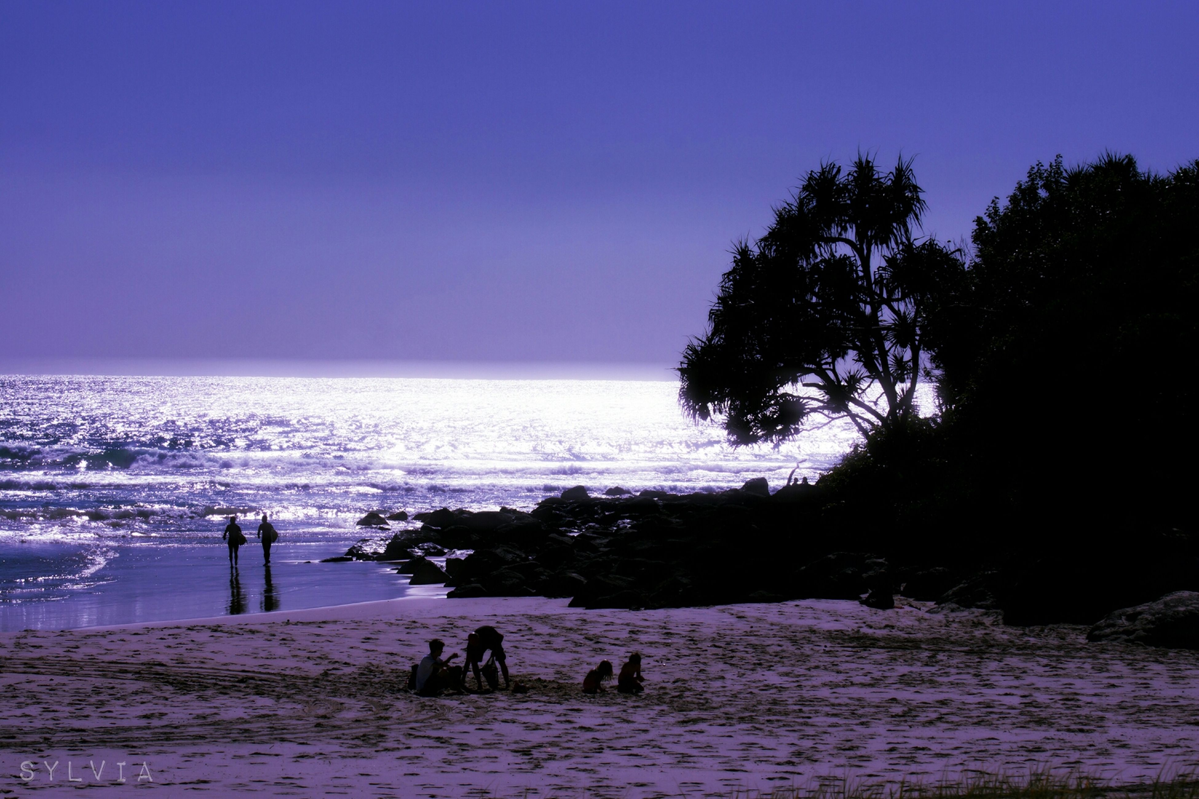 sea, water, beach, horizon over water, leisure activity, silhouette, clear sky, lifestyles, scenics, copy space, shore, tranquil scene, vacations, beauty in nature, men, blue, tranquility, togetherness, enjoyment