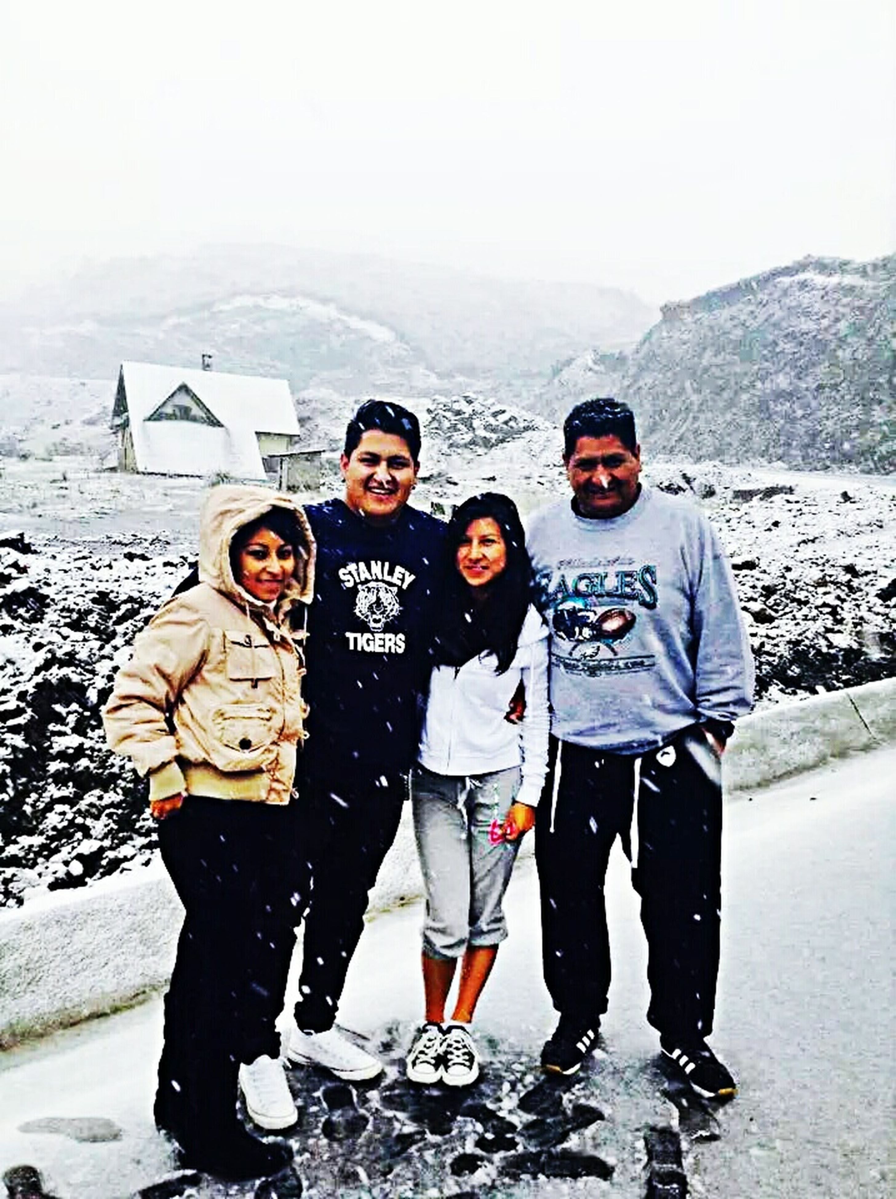 lifestyles, togetherness, leisure activity, bonding, full length, winter, love, casual clothing, standing, warm clothing, cold temperature, snow, boys, childhood, family, season, friendship, girls