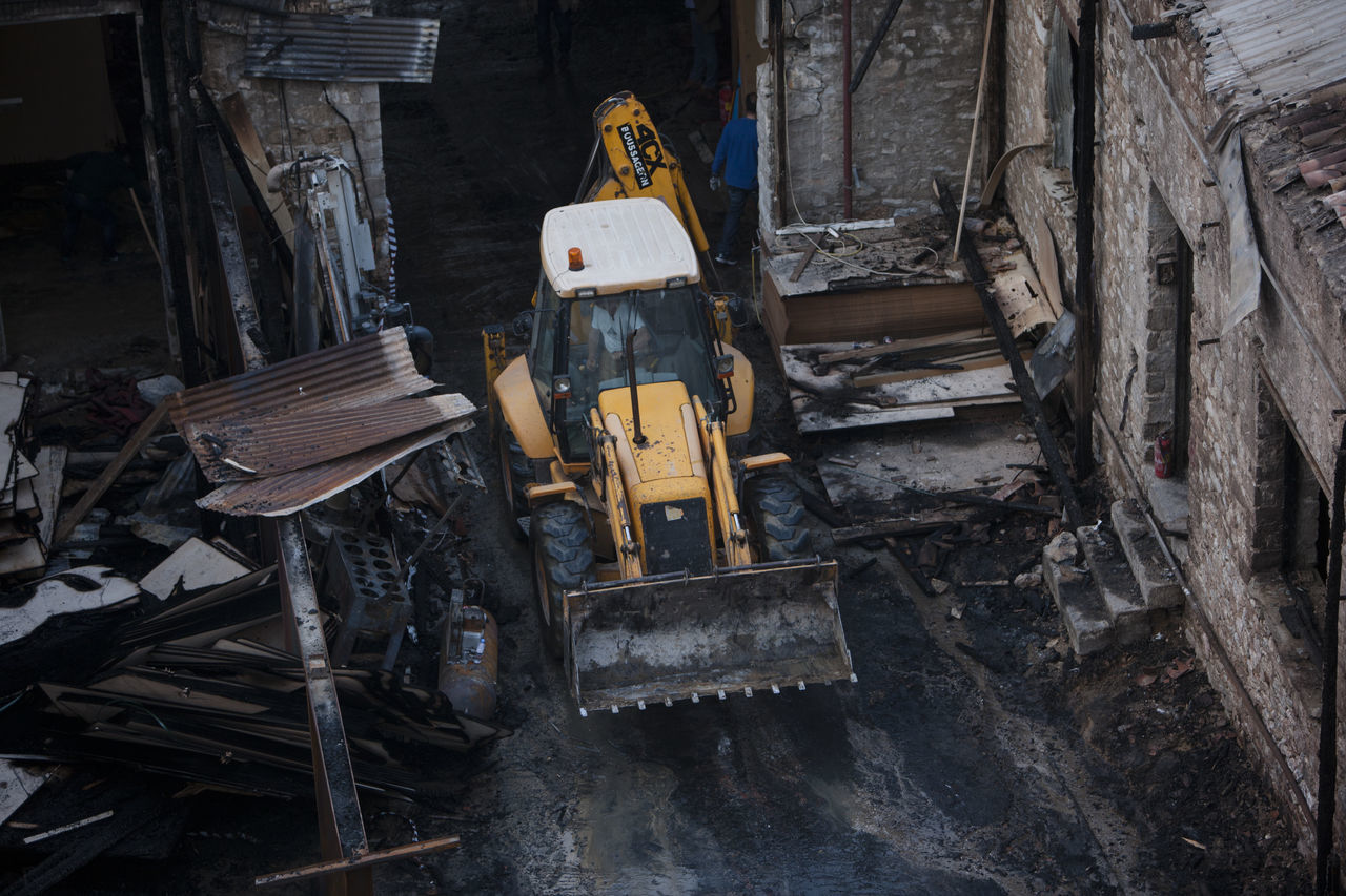 Athens Building Burn Construction Machinery Damaged Day Destroyed Fire Greece No People