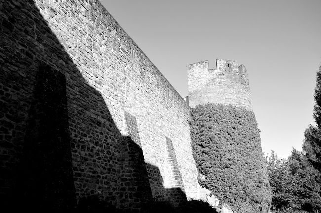 Architecture Built Structure Building Exterior History Sunlight Castle Shadow The Past Wall - Building Feature Tower Fort Low Angle View Blue Clear Sky Old Stone Wall Fortified Wall Stone Material Fortress Historic Luxembourg Streetphotography Echternach Nikon EyeEm Gallery Nikonphotography