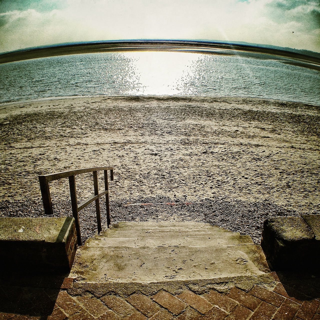water, sea, sky, beach, railing, nature, no people, sand, day, horizon over water, beauty in nature, outdoors, scenics, vacations