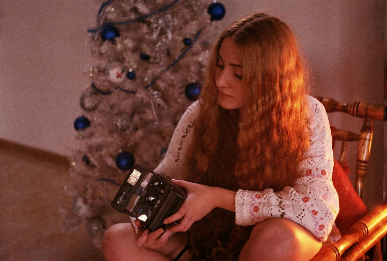 Adult Adults Only Analog Analogue Photography Beauty Christmas Christmas Tree Close-up Curly Hair Film Film Photography One Person One Woman Only One Young Woman Only People Polaroid Redhead Young Adult