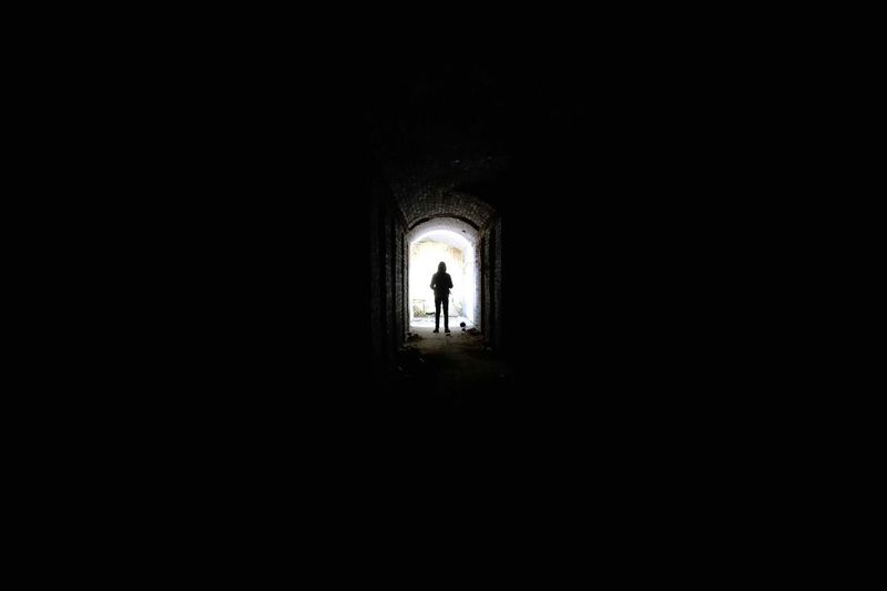 Lonely Dark Indoors  Light At The End Of The Tunnel Silhouette Architecture Tunnel One Person Day Full Length Child Adult People Real People Children Only Urbexexplorer Abdoned Bildung Photography Rotten Lostplaces Abondoned Places Travel Abonded Buildings Urbex Urbexphotography Rotting