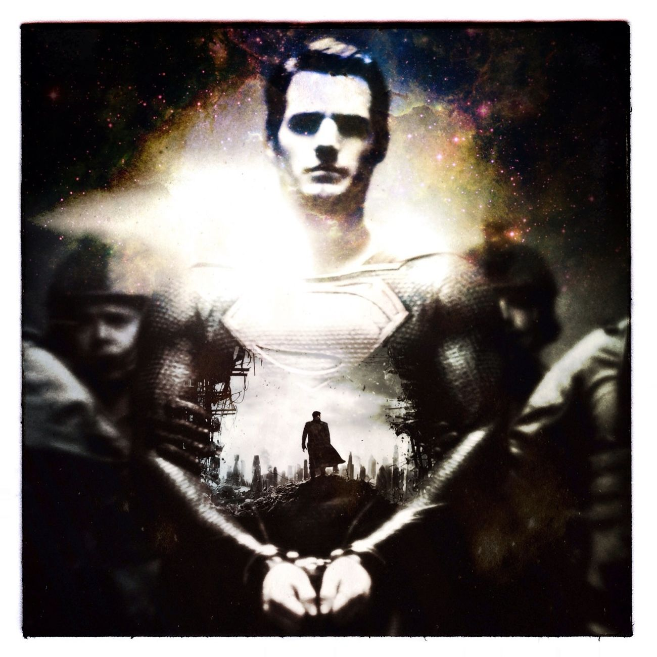 This is a double exposure made with to existing posters for the upcoming movies Superman & Star Trek