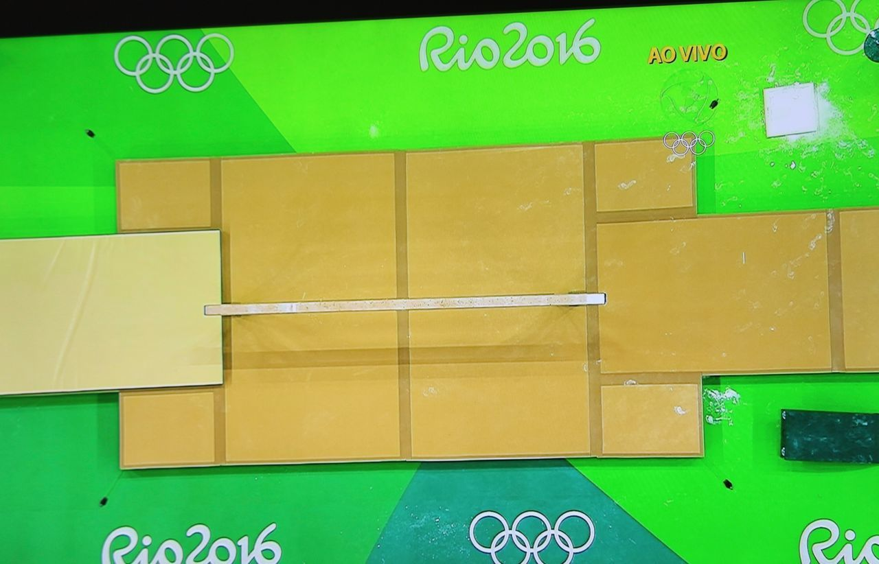 Gymnastic apparatus view from above in TV. Apparatus Asbtract Green Color Gymnastic No People Olympic Pivotal Ideas Rio 2016 Summer Olympic View From Above