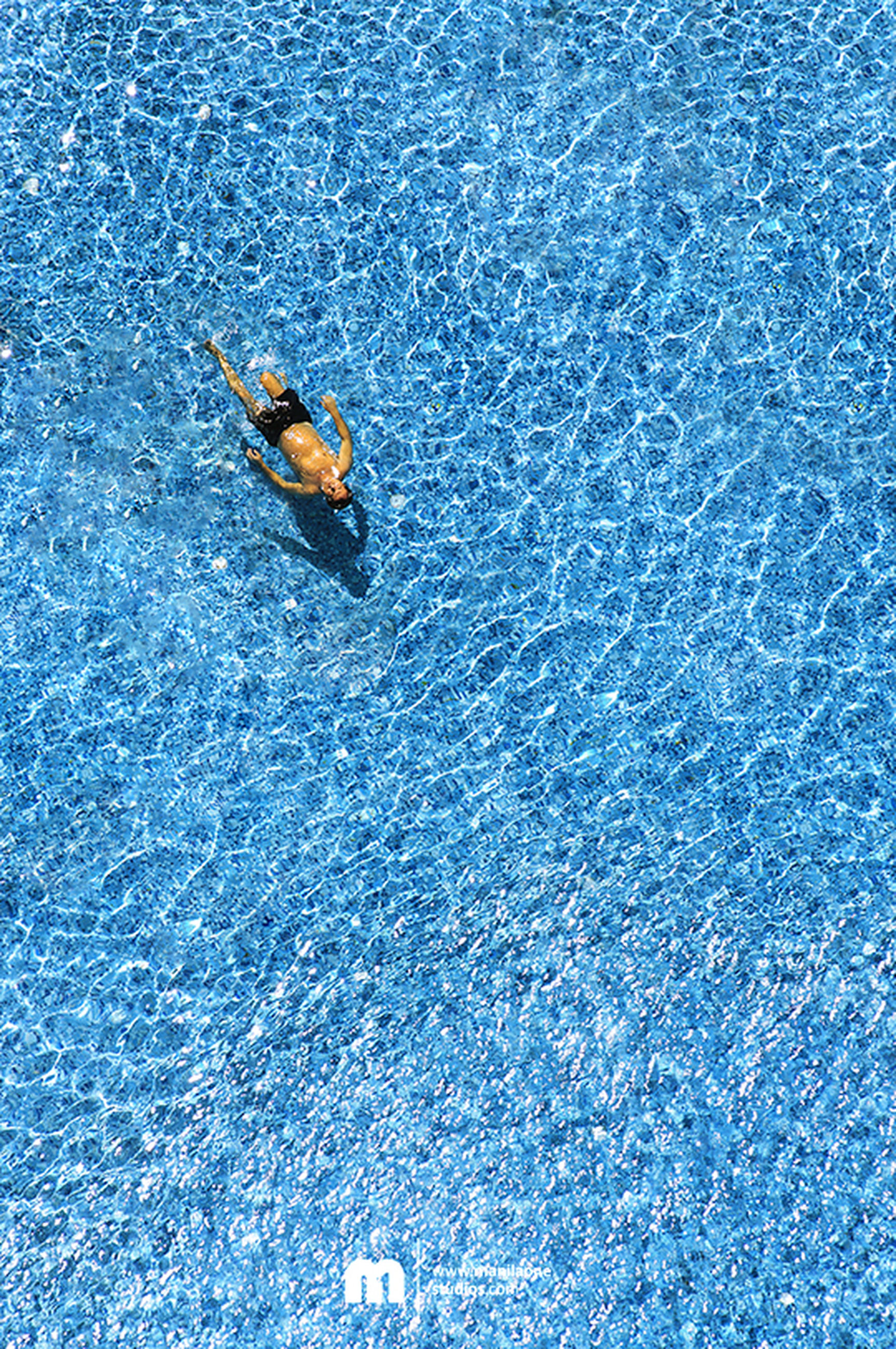 water, high angle view, blue, waterfront, rippled, full frame, swimming pool, floating on water, swimming, backgrounds, reflection, day, nature, outdoors, directly above, no people, lake, close-up, turquoise colored, wet