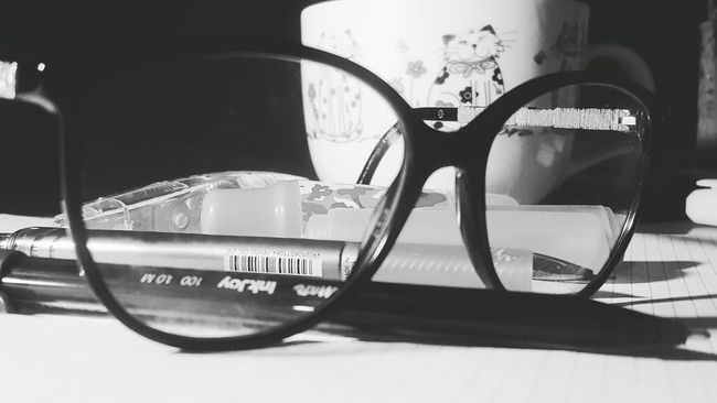 Monochrome Photography Glass - Material Stationary No People Journey Studying Hard Examseason Chanel Mademoidelle Tea Time Cup Cupoftea Evidenziatori Matite