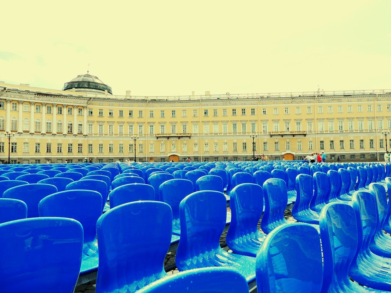 Blue Chairs Best Scene In World Concert Palace Square Sankt-peterburg Day Of The City Walking Around Russia