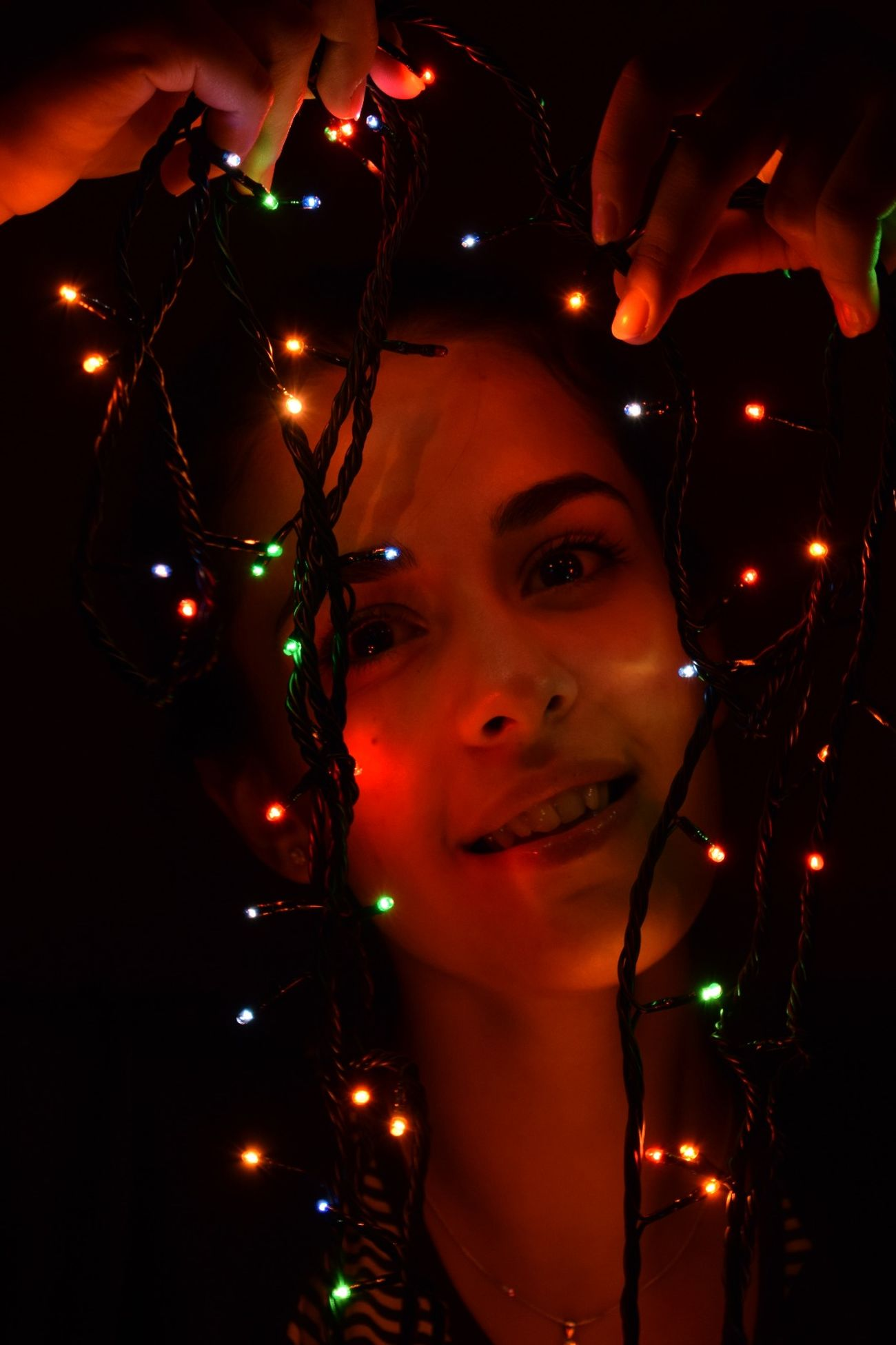 One Person Adults Only One Woman Only Only Women Women Illuminated Black Background One Young Woman Only Moments NIKON D5300 Cristmas Night Lights Cristmas Time♥ CRISTMAS💙 Ready For Christmas! !