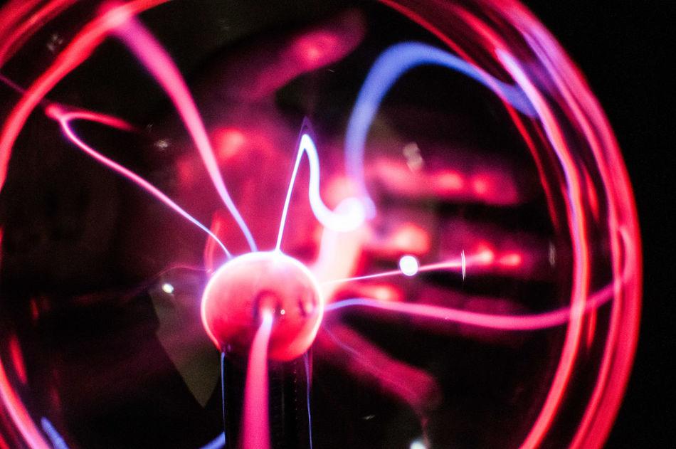 Abstract Black Background Circle Electricity  Esoteric Hand Lightning No People Phisics Red Backgrounds Plasma Lamp Plasma Globe Plasma Ball