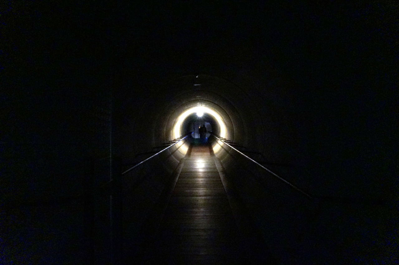 the way forward, tunnel, illuminated, indoors, arch, light at the end of the tunnel, night, real people, one person, architecture, men, full length, people