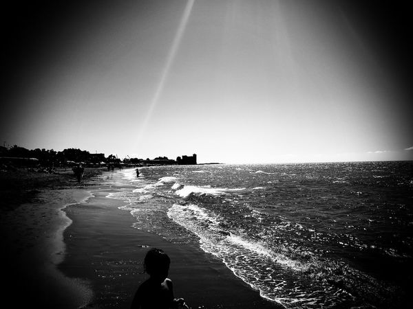 Castel on the sea Santa Severa.Roma.Lazio.Italy Sea Beach Scenics Outdoors Day Art Is Everywhere Panoramic Black & White Blackandwhite Photography Welcome To Black