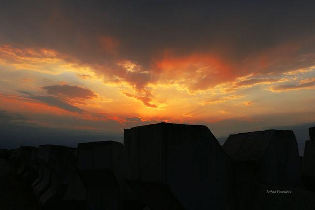 Sunset Breakwater Caspian Sea Iran Port Of Anzali Iran Canonphotography Canon 70d Photography