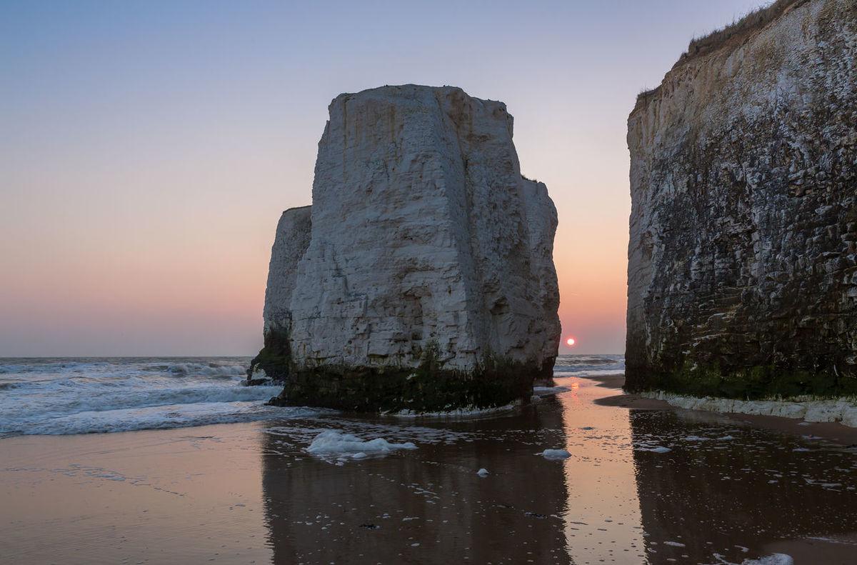 Sunrise at Botany Bay Sun Rocks Cliffs Seascape Seaside Reflection Kent Southeast Coast England Sun Beach Sand Water Landscapes With WhiteWall