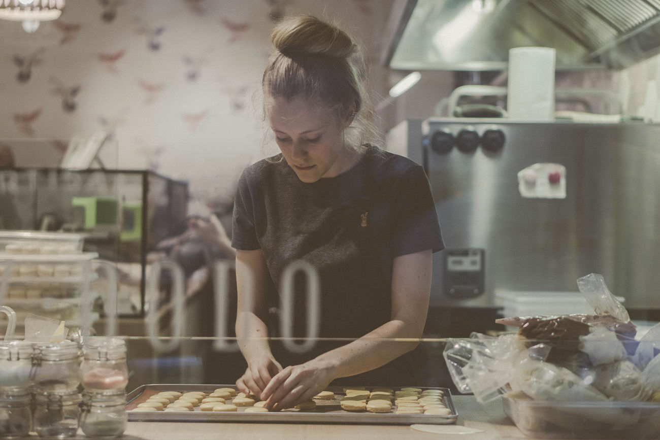 Baking macarons Bakery Baking Working Hands At Work Girl One Person Indoors  Macarons Sweet Food Pastry