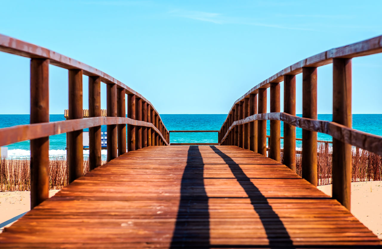 Wooden boardwalk to the beach. Idyllic scene Los Arenales Del Sol Alicante, Spain Beach Coast Coastal Costa Blanca Europe Footbridge Footpath Horizon Over Water Landscape Mediterranean Sea Nature Nobody Outdoors Path Pathway Seashore Shore SPAIN Sunny Day Travel Destinations Way Wooden Wooden Boardwalk