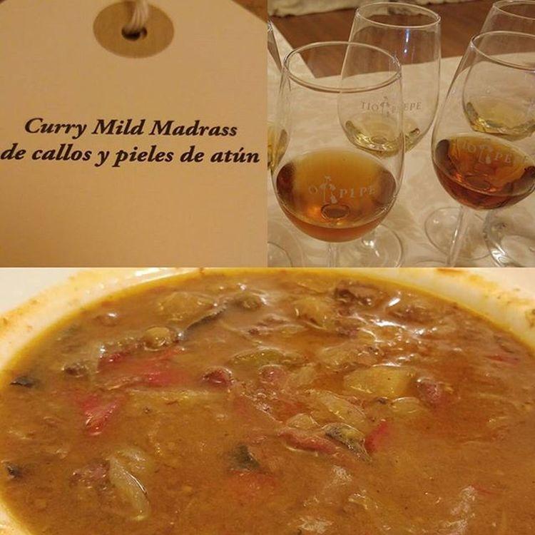 Tercera Experiencia  Gastronómica del Sherrymaster de @bodegastiopepe GonzalezByass : Curry Mild Madrass de Callos y pieles de Atùn y vino Delduque Leonor y Apostoles